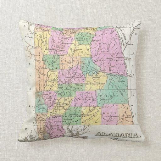 Vintage Map of Alabama (1827) Throw Pillows
