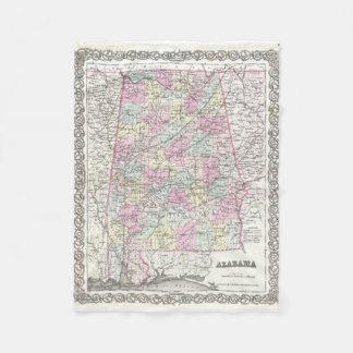 Vintage Map of Alabama (1855) Fleece Blanket