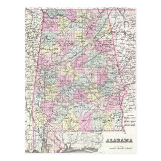 Vintage Map of Alabama (1855) Post Card