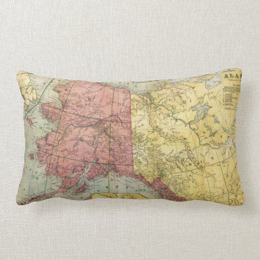 Vintage Map of Alaska and Canada (1901) Pillow