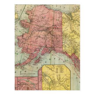 Vintage Map of Alaska and Canada (1901) Postcard