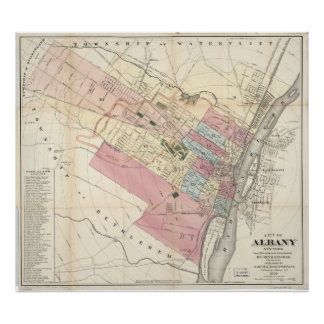 Vintage Map of Albany NY (1874) Poster