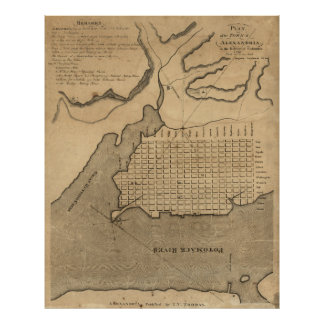 Vintage Map of Alexandria Virginia (1798) Poster