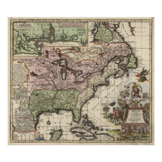 Vintage Map of America (1720) Poster