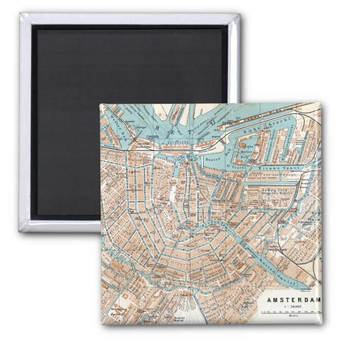 Vintage Map of Amsterdam (1905) 2 Inch Square Magnet