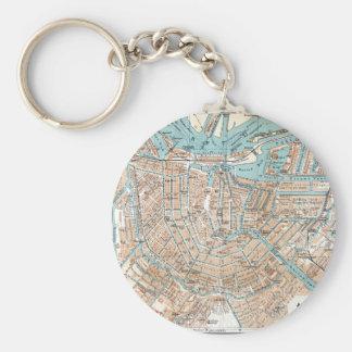Vintage Map of Amsterdam (1905) Basic Round Button Keychain