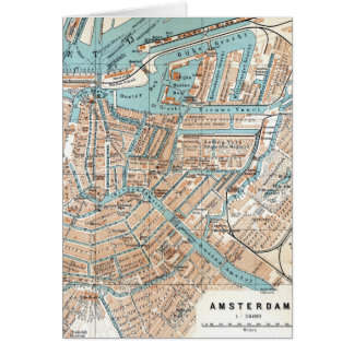 Vintage Map of Amsterdam (1905) Card