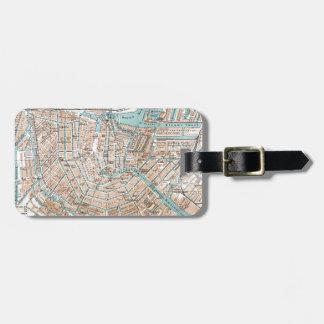 Vintage Map of Amsterdam (1905) Luggage Tag