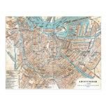Vintage Map of Amsterdam (1905) Postcard