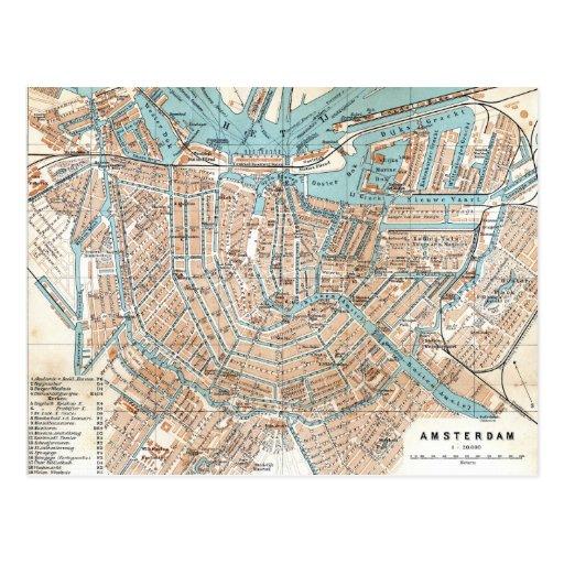Vintage Map of Amsterdam (1905) Postcards