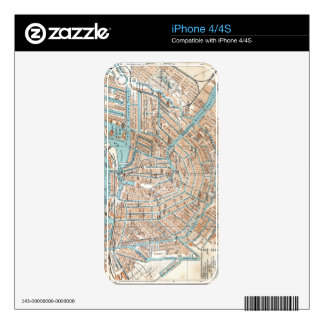 Vintage Map of Amsterdam (1905) iPhone 4S Skin