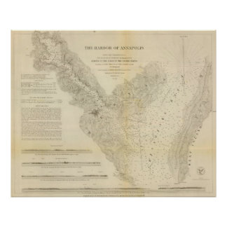 Vintage Map of Annapolis Harbor Maryland (1846) Poster