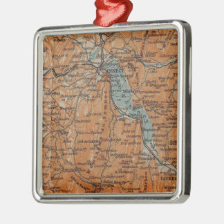 Vintage Map of Annecy France (1914) Metal Ornament