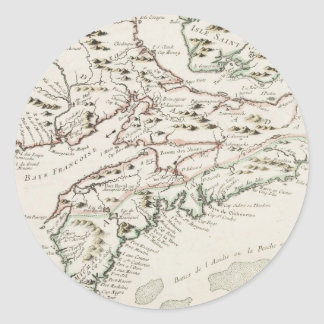 Vintage Map of Arcadia (1757) Classic Round Sticker