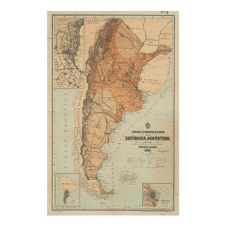 Vintage Map of Argentina (1882) Poster