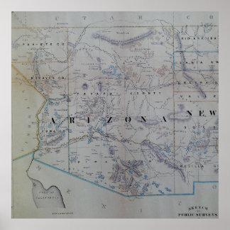 Vintage Map of Arizona (1866) Poster