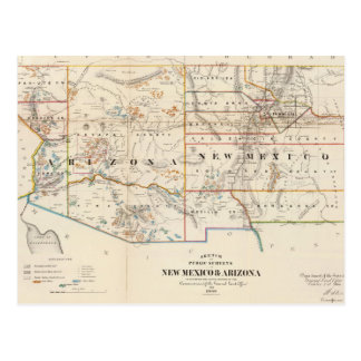 Vintage Map of Arizona and New Mexico (1866) Postcard