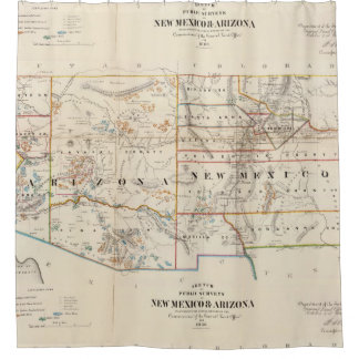 Vintage Map of Arizona and New Mexico (1866) Shower Curtain