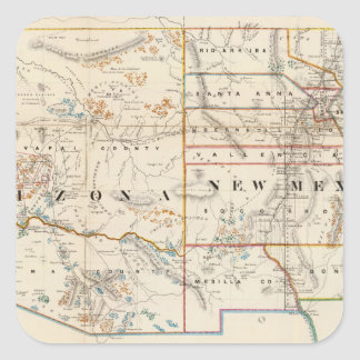 Vintage Map of Arizona and New Mexico (1866) Square Sticker
