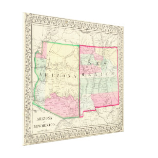 Vintage Map of Arizona and New Mexico (1867) Canvas Print