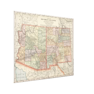 Vintage Map of Arizona and New Mexico (1891) Canvas Print
