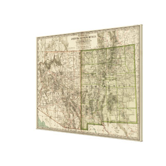Vintage Map of Arizona and New Mexico (1899) Canvas Print