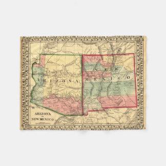 Vintage Map of Arizona and New Mexico Fleece Blanket