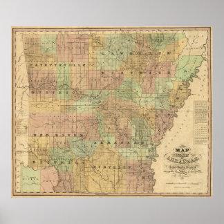 Vintage Map of Arkansas (1839) Poster