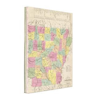 Vintage Map of Arkansas (1853) Canvas Print