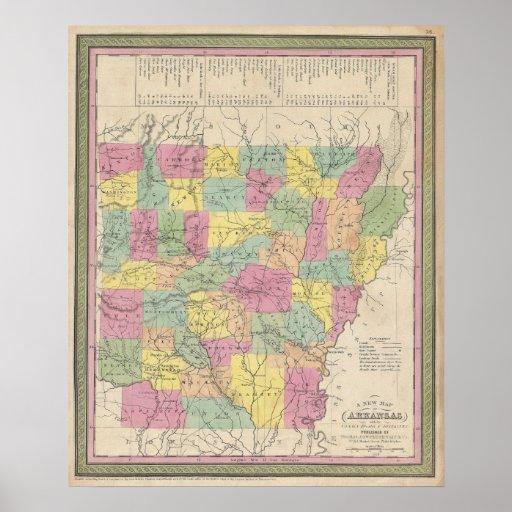 Vintage Map of Arkansas (1853) Poster