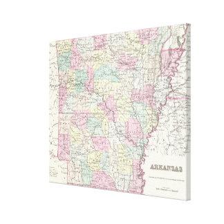 Vintage Map of Arkansas (1855) Canvas Print