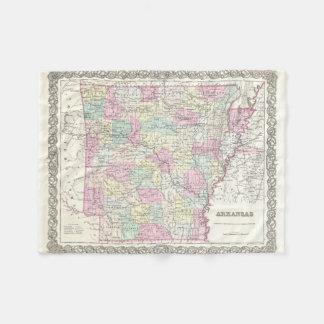 Vintage Map of Arkansas (1855) Fleece Blanket