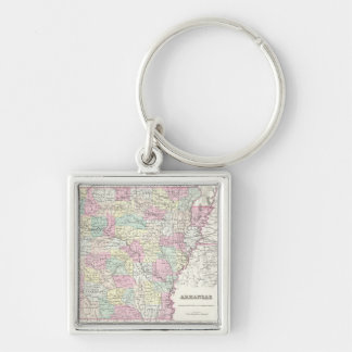 Vintage Map of Arkansas (1855) Silver-Colored Square Keychain