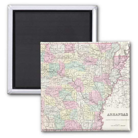 Vintage Map of Arkansas (1855) Magnet