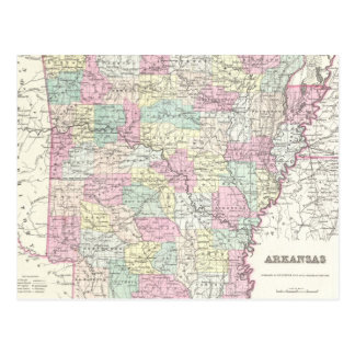Vintage Map of Arkansas (1855) Postcard