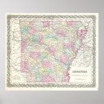 Vintage Map of Arkansas (1855) Poster