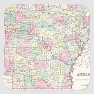 Vintage Map of Arkansas (1855) Square Sticker