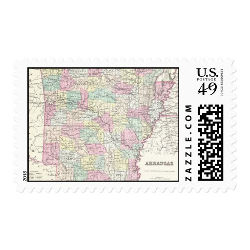 Vintage Map of Arkansas (1855) Stamps