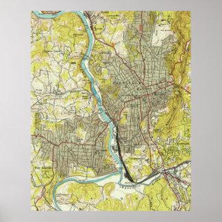 Vintage Map of Asheville North Carolina (1943) Poster