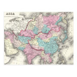 Vintage Map of Asia (1855) Post Cards