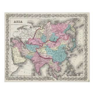 Vintage Map of Asia (1855) Posters