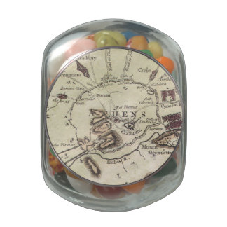 Vintage Map of Athens (1784) Jelly Belly Candy Jar