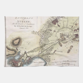 Vintage Map of Athens (1784) Hand Towels