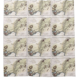Vintage Map of Athens (1784) Shower Curtain