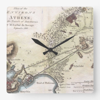 Vintage Map of Athens (1784) Square Wall Clock