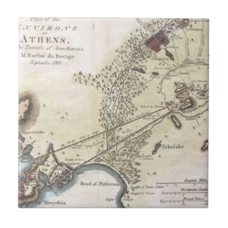 Vintage Map of Athens (1784) Tile