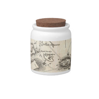 Vintage Map of Athens Greece (1784) Candy Dish