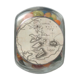 Vintage Map of Athens Greece (1784) Glass Candy Jars