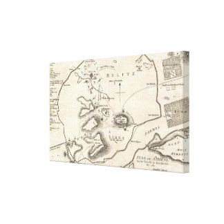 Vintage Map of Athens Greece (1784) Canvas Print