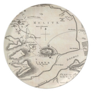 Vintage Map of Athens Greece (1784) Dinner Plate